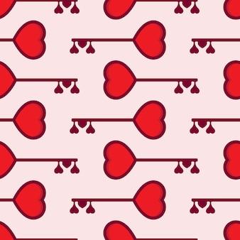 Día de san valentín corazón y llave de patrones sin fisuras