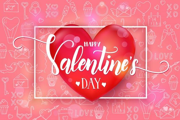 Día de san valentín con corazón rojo 3d y marco en patrón rosa con símbolos de arte de línea de amor dibujados a mano. bosquejo. feliz día de san valentín.
