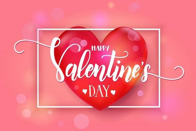 Día de san valentín con corazón rojo 3d y marco en rosa. bosquejo. feliz día de san valentín.