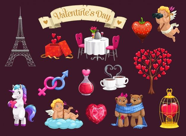 Día de san valentín corazones de amor, regalos románticos, cupidos