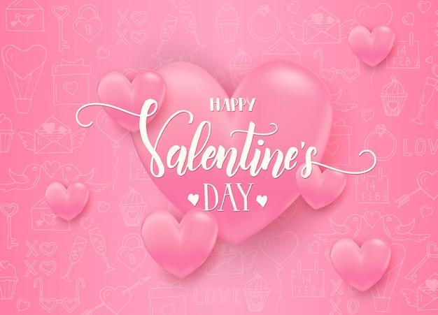 Día de san valentín con corazones de color rosa 3d con símbolos de arte de línea de amor dibujados a mano. feliz día de san valentín