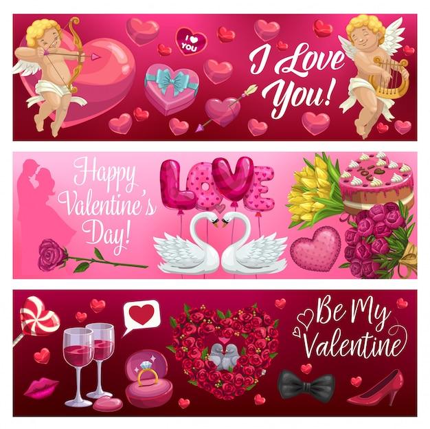 Día de san valentín corazones, cupidos, flores y regalos