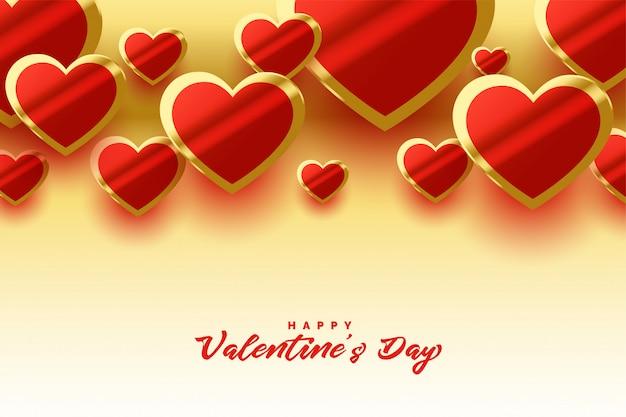 Día de san valentín corazones dorados brillantes hermosa tarjeta de felicitación