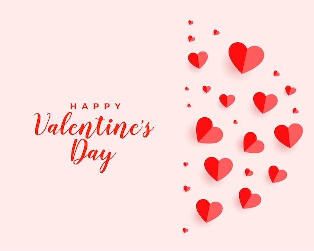 Día de san valentín corazones flotantes hermoso diseño de tarjeta