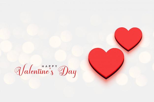 Día de san valentín corazones fondo bokeh