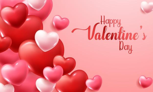 Día de san valentín con corazones rojos y rosados.