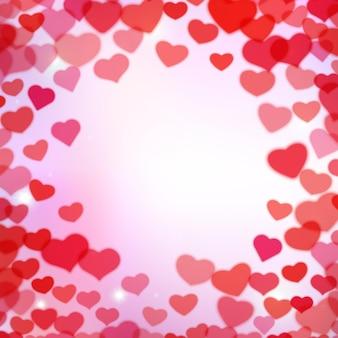 Día de san valentín con corazones tiernos borrosos dispersos