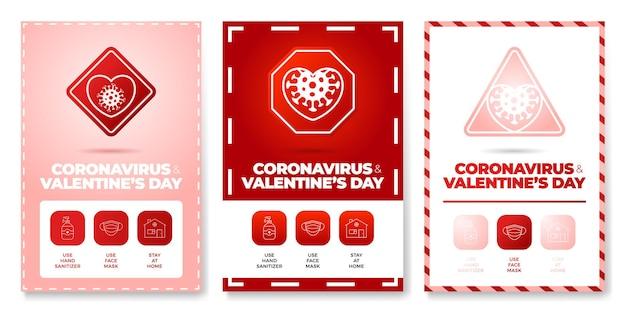 Día de san valentín coronavirus todo en uno icono conjunto de carteles ilustración