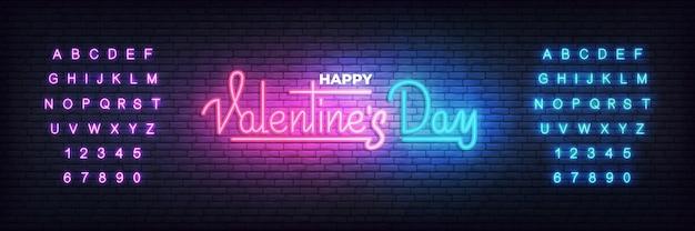 Día de san valentín, día de san valentín neón brillante fondo de banner de letras