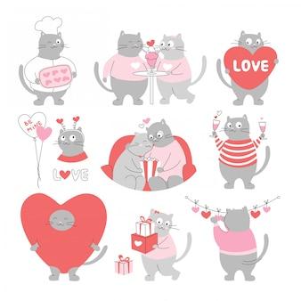 Día de san valentín. dibujos animados de gatos graciosos con corazones