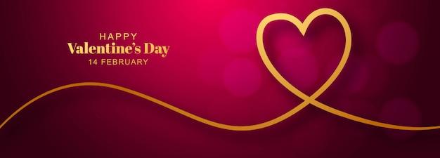 Día de san valentín con diseño de banner de corazón