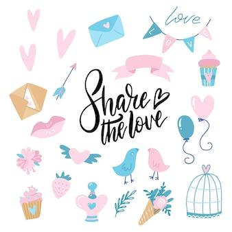 Día de san valentín doodle conjunto, objetos de concepto y diseño. corazón, cinta, globos, dulces, carta de amor