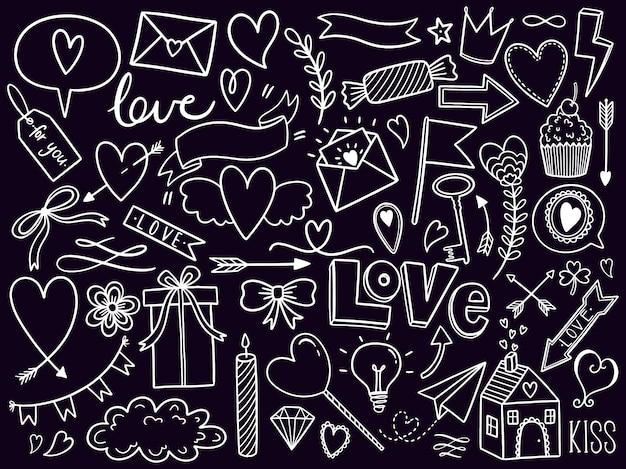 Día de san valentín doodle conjunto