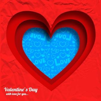 Día de san valentín elegante con formas de corazones cortados de la ilustración de vector de papel arrugado rojo