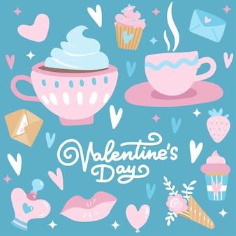 Día de san valentín con elementos de amor, corazón, superposiciones, caligrafía lineal, tazas de café, etc.