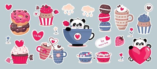 Día de san valentín con elementos: cupcake, panda, macarrón, corazones.