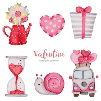 El día de san valentín establece elementos caracol, autobús, corazón, caja de regalo y más.