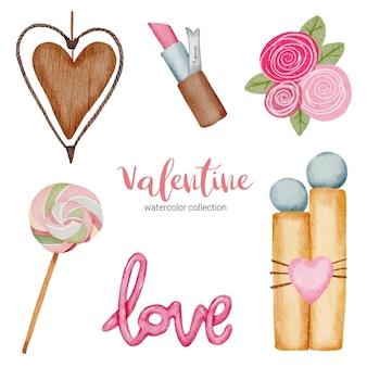 El día de san valentín establece elementos, corazón, regalo, lápiz labial, dulces, etc.