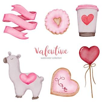 El día de san valentín establece elementos dulces, taza de café, globos y más.