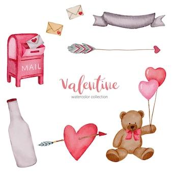 Día de san valentín establece elementos globos, flecha, corazón, peluche y más.