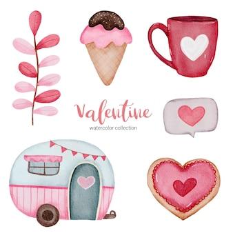 El día de san valentín establece elementos de helado, taza de café, casa y más.