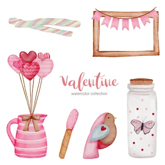 Día de san valentín establece elementos, marco, jarra, pájaro y más.