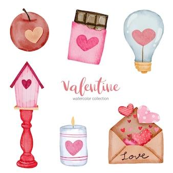 Día de san valentín establece elementos, marco, luz, vela, manzana, chocolate y más.
