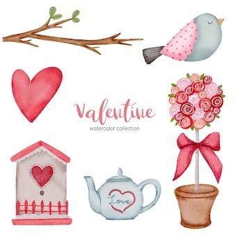 Día de san valentín establece elementos ramas, pájaros, corazón, tetera y más.