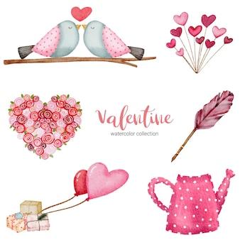 Día de san valentín establece elementos regalos, pájaros, corazón y más.