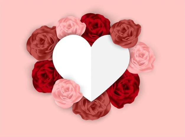 Día de san valentín fondo rosa con rosa