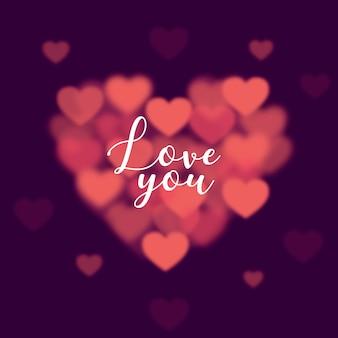 Día de san valentín con forma de corazón borrosa