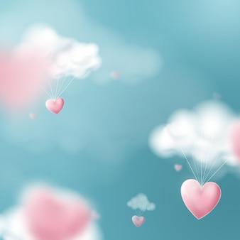 Día de san valentín con globos de corazón volando y nubes.