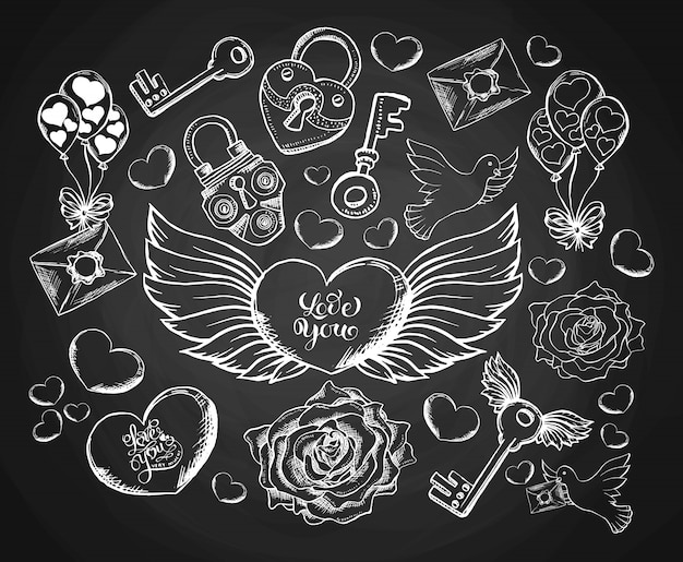 Día de san valentín grabado conjunto con sobre, escuchar, alas, paloma y rosa.