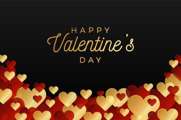 Día de san valentín horizontal marco horizontal de corazones rojos y dorados sobre fondo negro