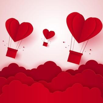 Día de san valentín ilustración del amor globo de aire caliente en forma de corazón volando en el cielo