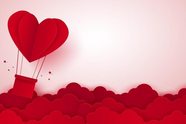 Día de san valentín ilustración del amor globo de aire caliente en forma de corazón volando con espacio en blanco