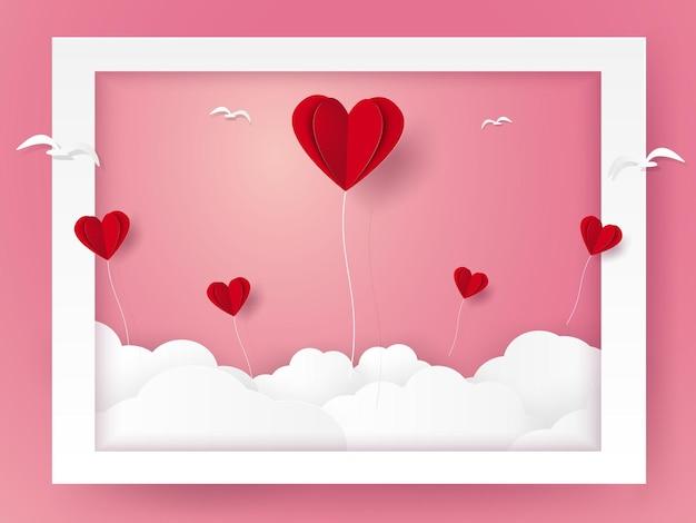 Día de san valentín, ilustración de amor, globos de corazón y pájaros volando fuera del marco, estilo de arte de papel