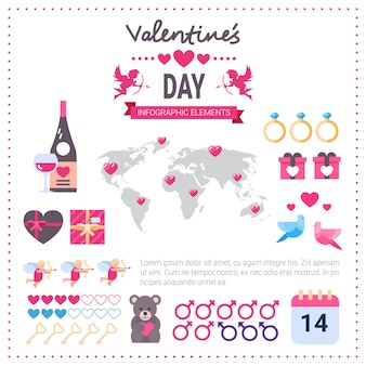 Día de san valentín infografía banner conjunto de iconos sobre fondo rosa plantilla