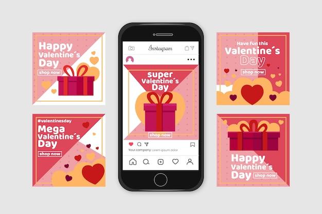 Día de san valentín instagram post set