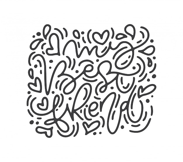 Día de san valentín letras dibujadas a mano.