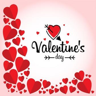 Día de san valentín con marco de corazones rojos