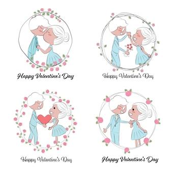 Día de san valentín o pareja de novios en mano dibujar corona de rosas