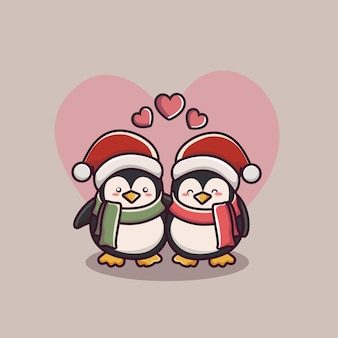 Día de san valentín pareja de amor pingüino
