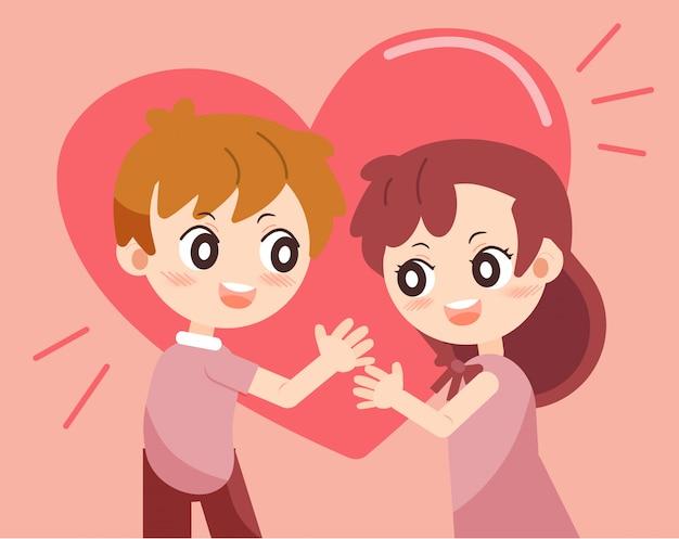 Día de san valentín con pareja enamorada set 2