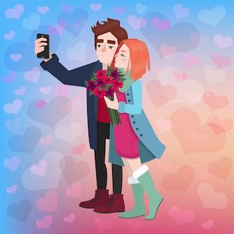 Día de san valentín pareja selfie