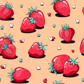 Día de san valentín patrón lindo doodle fresa y corazones