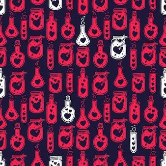 Día de san valentín de patrones sin fisuras de botellas de vidrio con corazones lindos dentro