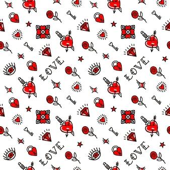 Día de san valentín en patrones sin fisuras de estilo de la vieja escuela. ilustración vectorial. diseño para san valentín, zancos, papel de envolver, embalajes, textiles