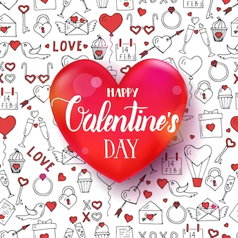 Día de san valentín de patrones sin fisuras con mano dibujado símbolos de amor. corazón rojo 3d con cita de letras manuscritas
