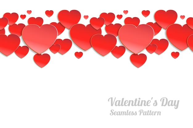 Día de san valentín de patrones horizontales sin fisuras. corazones de papel rojo sobre un fondo blanco.